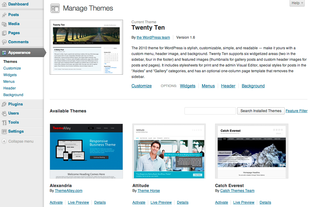 Manage_Themes_‹_evquir_—_WordPress